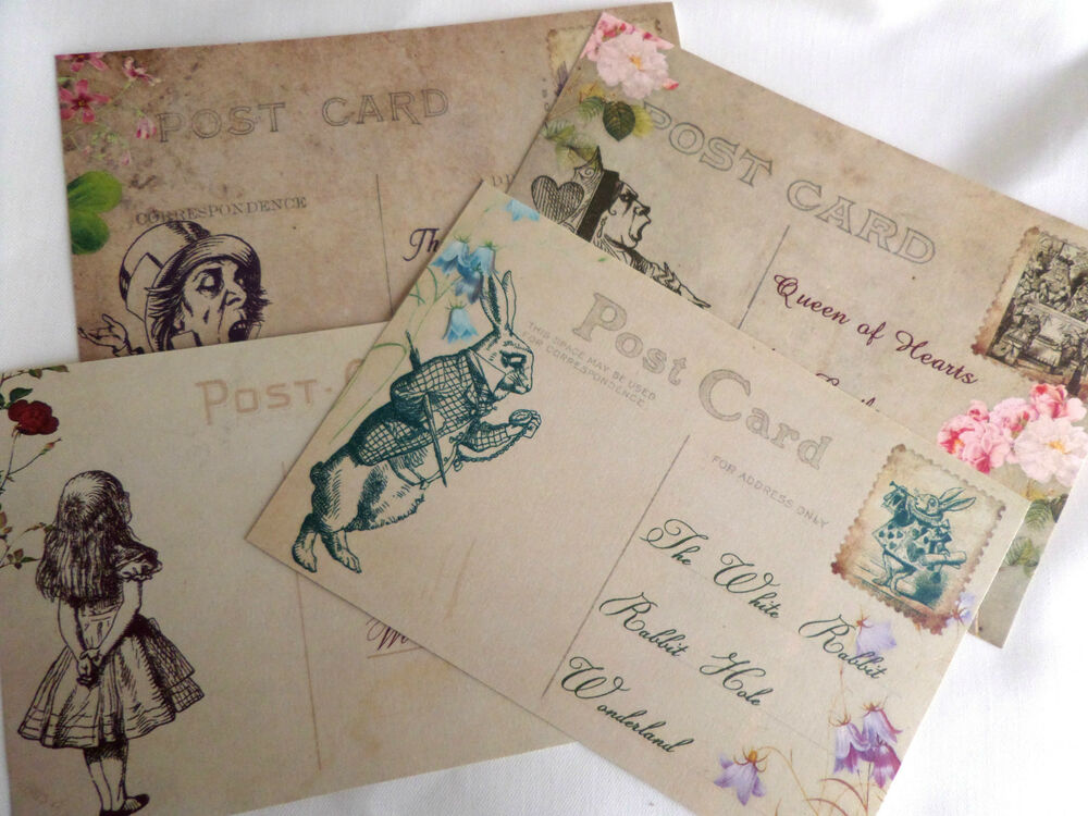 alice in wonderland themed vintage style post cards ebay. Black Bedroom Furniture Sets. Home Design Ideas