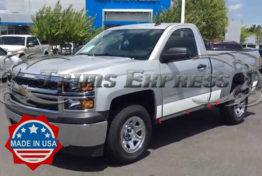 2014 2017 chevy silverado regular cab 6 8 39 short bed rocker panel trim 8 wide ebay. Black Bedroom Furniture Sets. Home Design Ideas