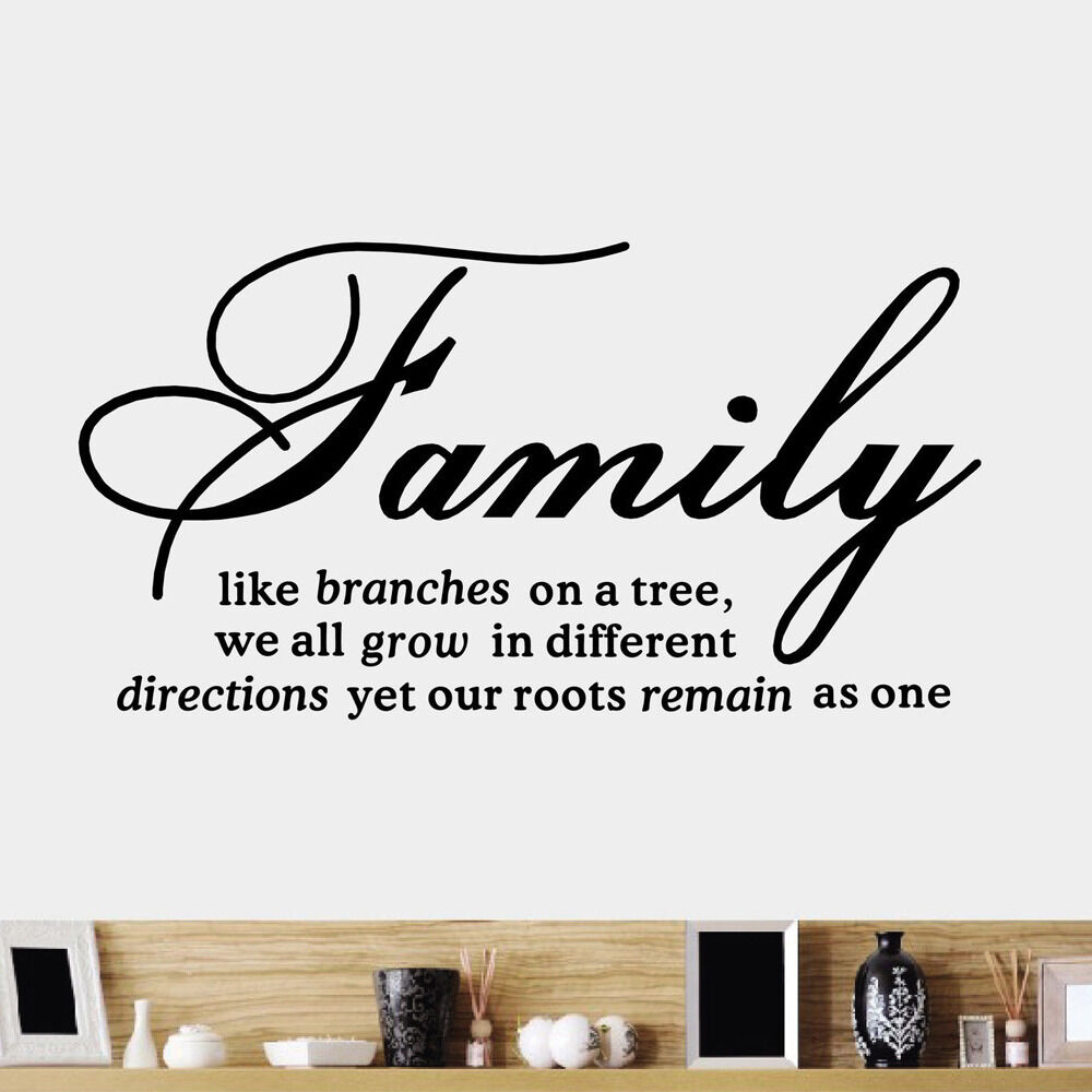 Diy family tree together quote vinyl wall sticker decal for Home decor quotes on wall