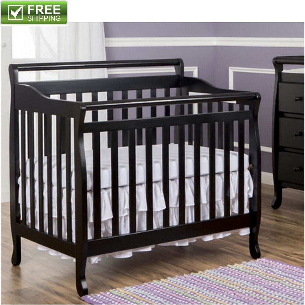 convertible baby bed 3 in 1 mini toddler crib black portable nursery kids new ebay. Black Bedroom Furniture Sets. Home Design Ideas
