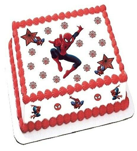 Spiderman Cake Decorations Uk : SPIDERMAN edible decoration set toppers for 7.5