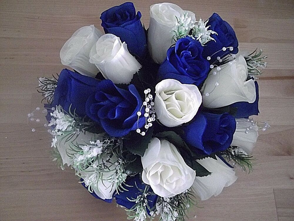 bridal bridesmaids wedding flower bouquet in royal blue ivory pearl sprays ebay. Black Bedroom Furniture Sets. Home Design Ideas