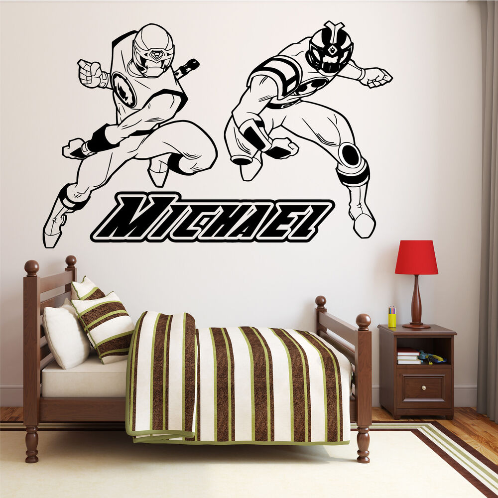 personalised power rangers wall art transfer boys bedroom disney fairies wall stickers stikarounds 45 pieces