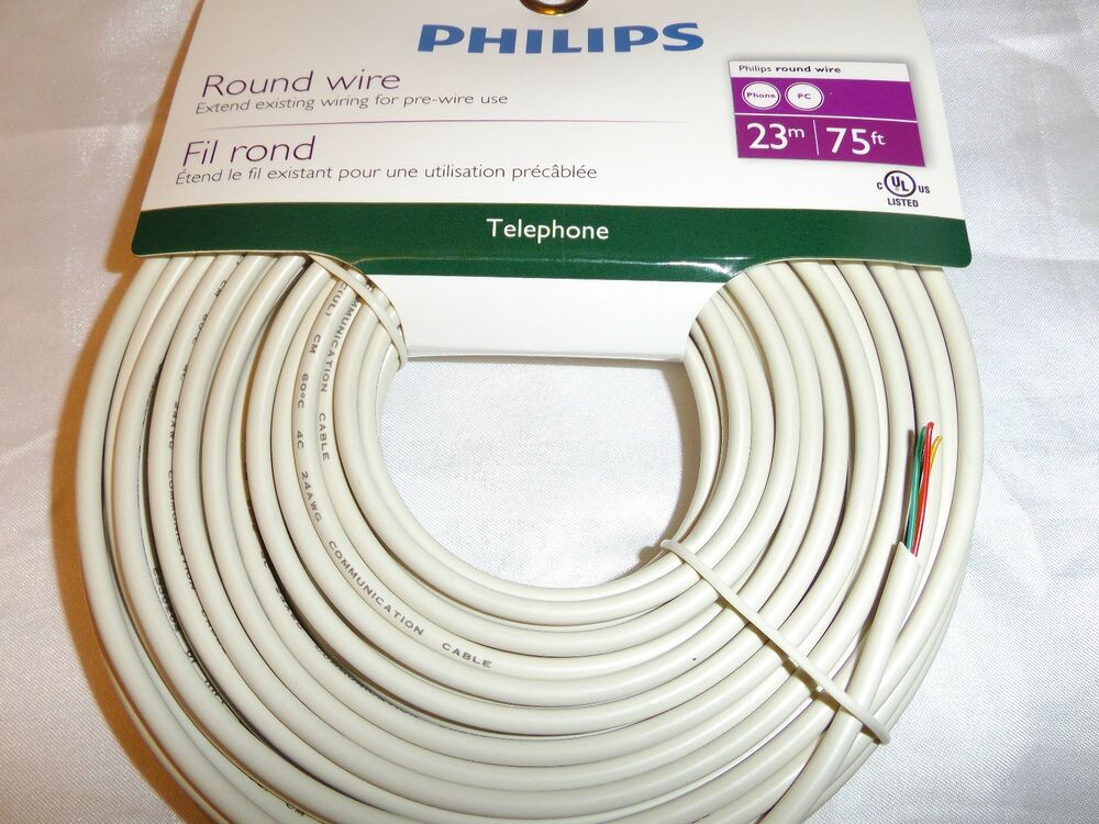 philips 75ft phone and pc round wire extend existing