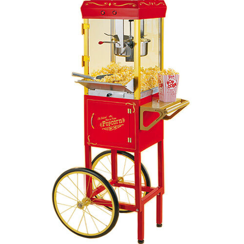 popcorn machine maker w cart stand pop corn popper nostalgia electrics ccp510 ebay. Black Bedroom Furniture Sets. Home Design Ideas