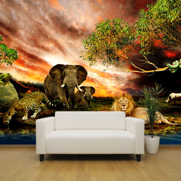 Safari Animals In Africa Feature Wallpaper Mural Design