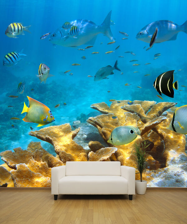 Underwater coral reef style 2 nature wallpaper mural for Coral reef mural