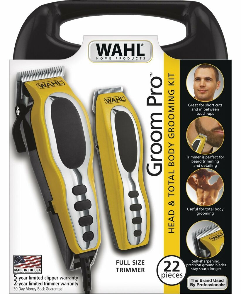 new wahl 79520 3101 groom pro 22 count yellow black haircutting kit made in usa ebay. Black Bedroom Furniture Sets. Home Design Ideas