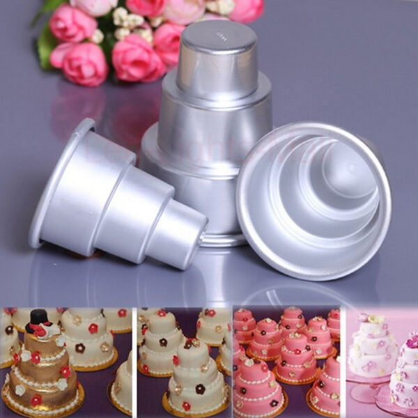 mini wedding cake chocolate molds 3 sizes mini 3 tier baking pan cake tins pudding muffin 17411