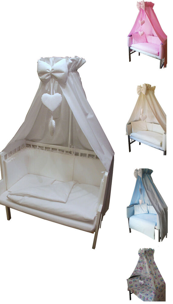 6 tlg baby bettw sche f r babywiege schaukelwiege beistellbett nestchen himmel ebay. Black Bedroom Furniture Sets. Home Design Ideas