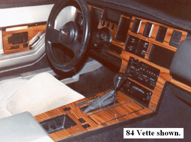 chevy corvette 1984 1989 wood dash trim premium kit 8 pcs manual transmission ebay. Black Bedroom Furniture Sets. Home Design Ideas