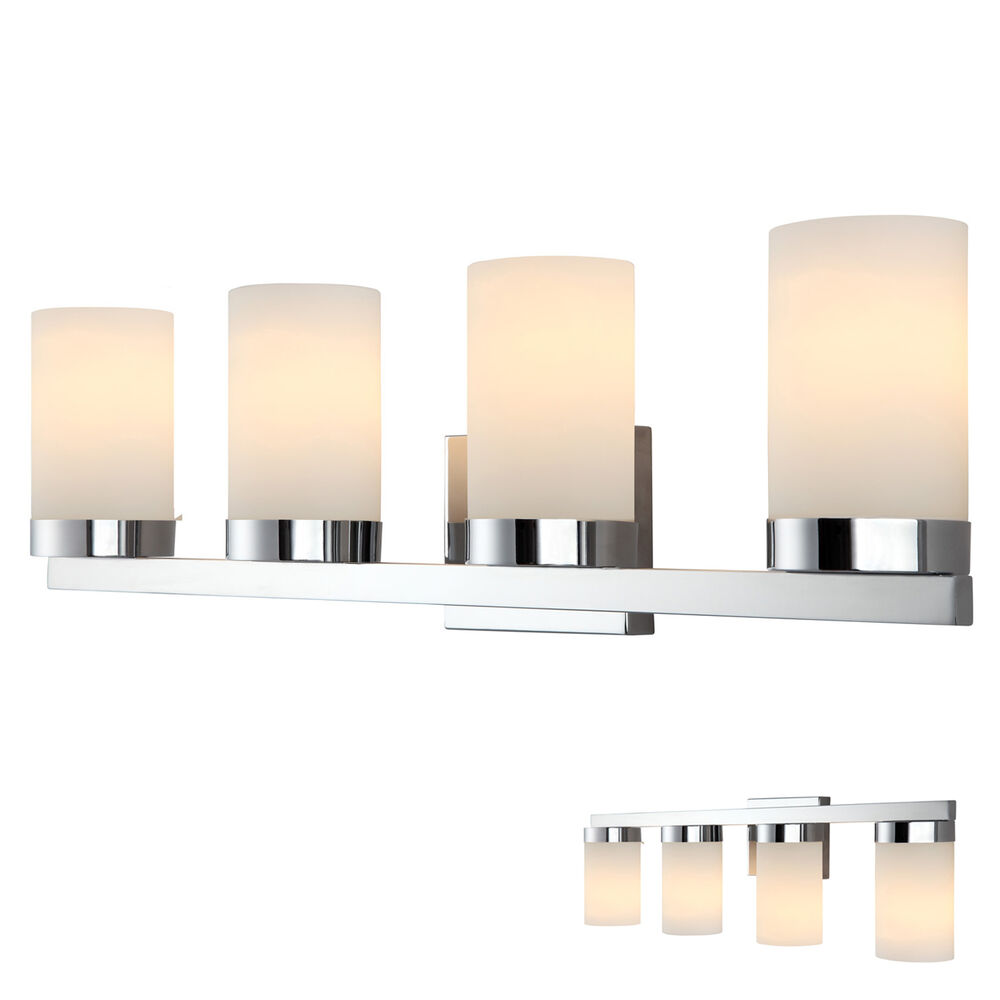 Chrome 4 Globe Vanity Bath Light Bar Fixture Lighting White Opal Glass Ebay