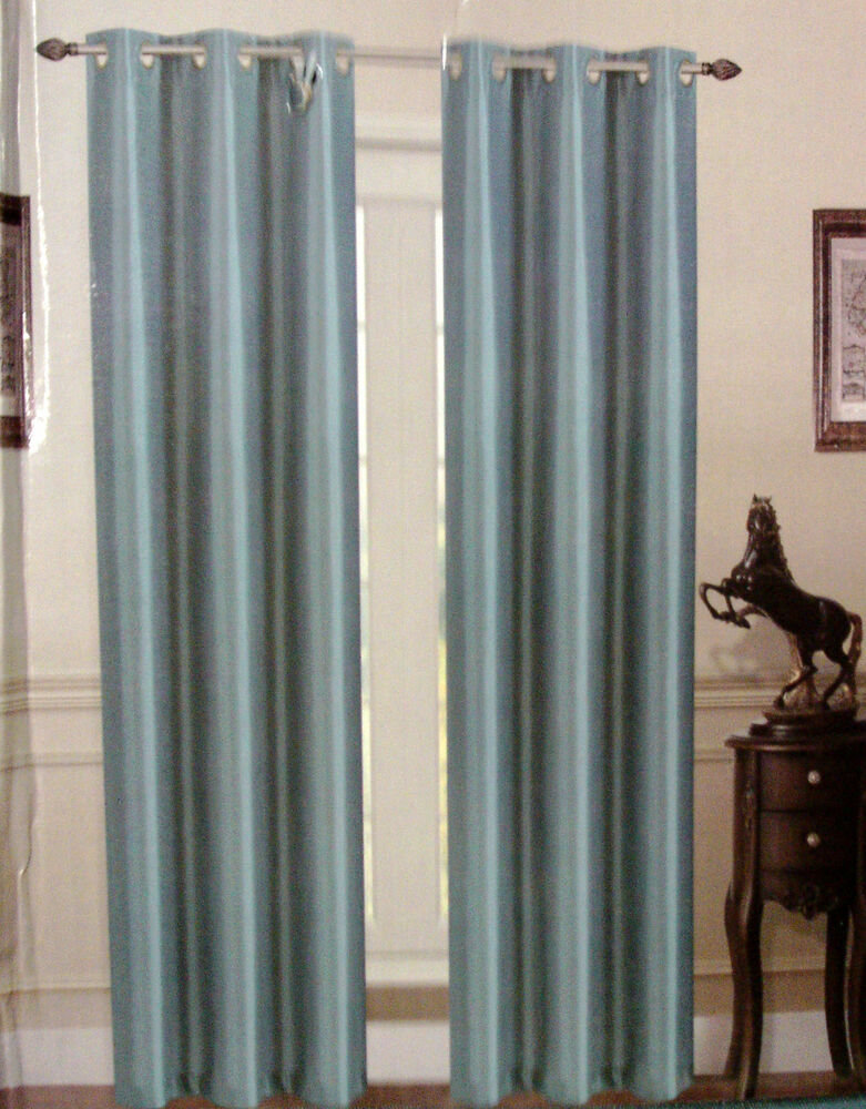 2pc Slate Blue Window Faux Silk Grommet Curtain Drapes 63 Length Blackout K32 Ebay
