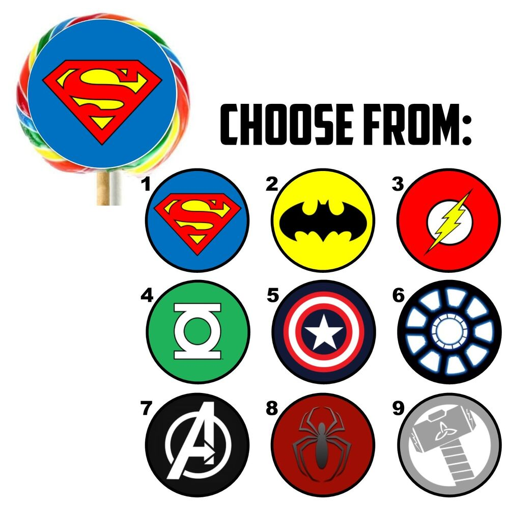 63 superhero logo birthday favor lollipop stickers   1