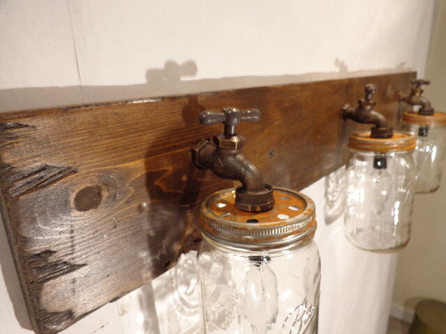 Handmade Mason Jar Vanity Light Fixture, Country Primitive
