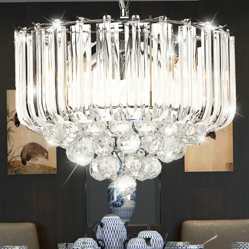 Suspended Ceiling Light Chrome Crystal Clear Chandelier