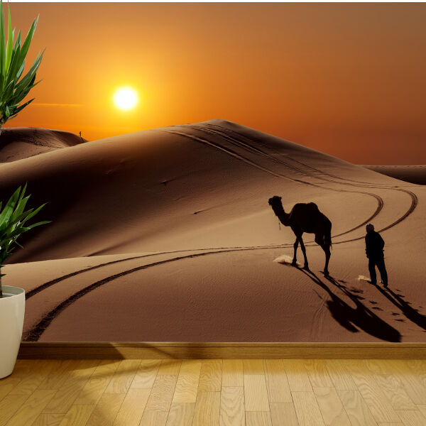 Camal wallking in the sahara desert nature wallpaper mural for Desert wall mural