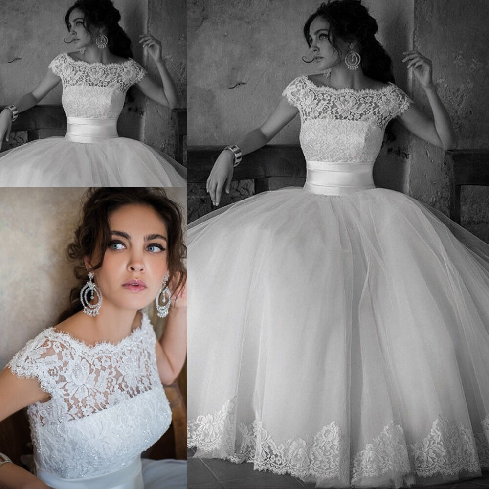 Ball Gown Lace Wedding Dresses: Elegant Lace Ball Gown Wedding Dresses Princess Bridal