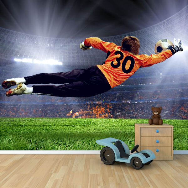 Football goalkeeper diving save wallpaper mural boys for Boys mural wallpaper