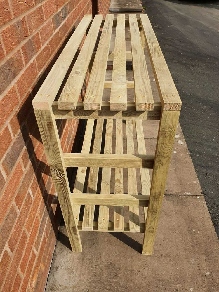 Wooden greenhouse staging very solid 4ft 2 tier ebay - Wooden staging for greenhouse ...