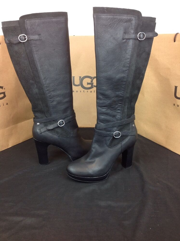 Ugg Australia Linde Black Leather Harness High Heel Tall