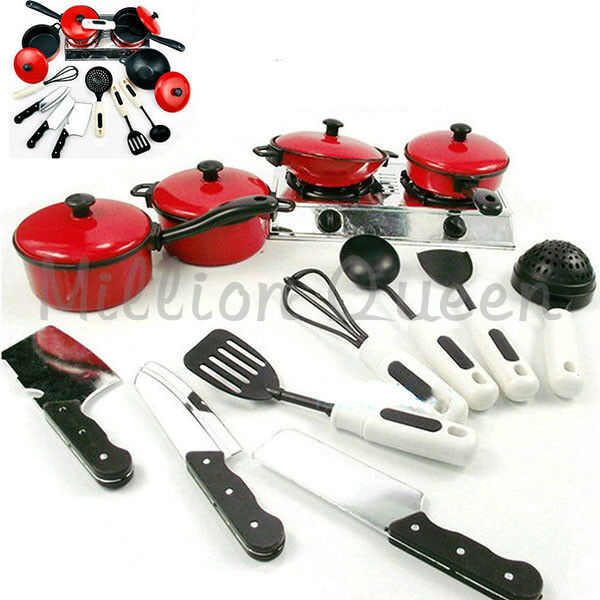 Play Cooking Toys : Kids play house toy kitchen cooking food utensils pans
