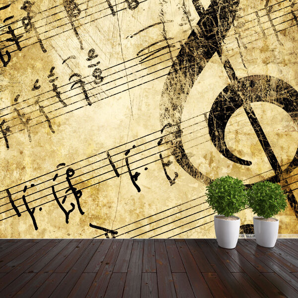 Musical notes wallpaper mural bedroom design wm291 ebay - Music note wallpaper for walls ...