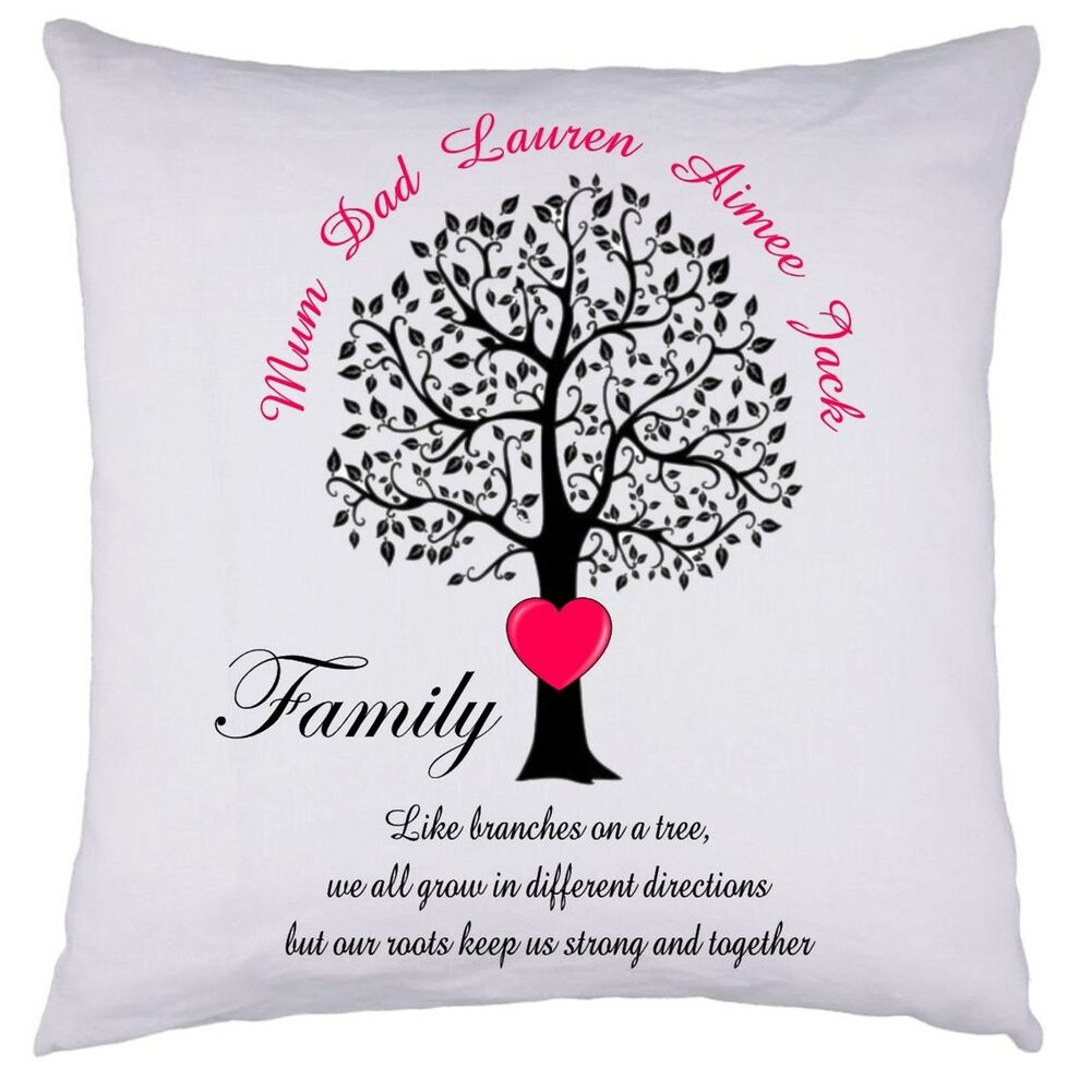 PERSONALISED Family Tree Cushion Cover Gift Valentines ...