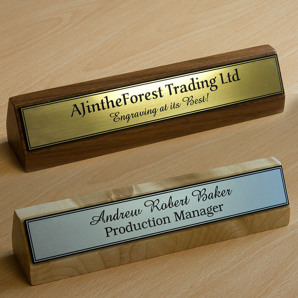 Premium Executive Hard Wood Personalised Desk Name Plate