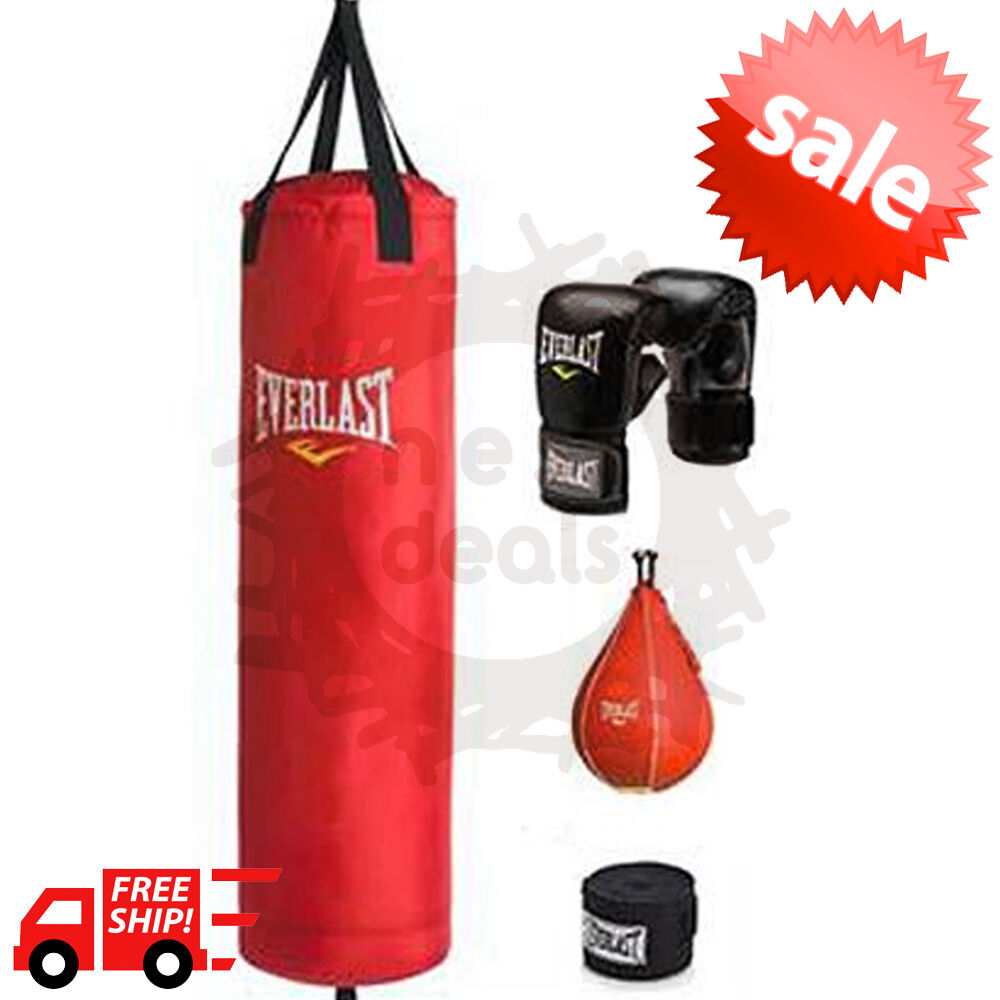 Heavy Boxing Punching Bag 70 Lb Training Gloves Speed Set