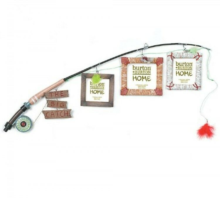 The Big Catch Fly Fishing Pole Photo Picture Holder Frame