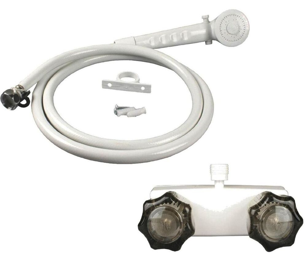 White Rv Mobile Home Shower Faucet W Smoke Handles Includes Hand Held Shower Ebay