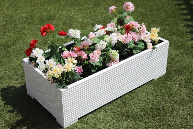 1 metre large wooden garden planter trough extra wide in cuprinol white decking ebay. Black Bedroom Furniture Sets. Home Design Ideas