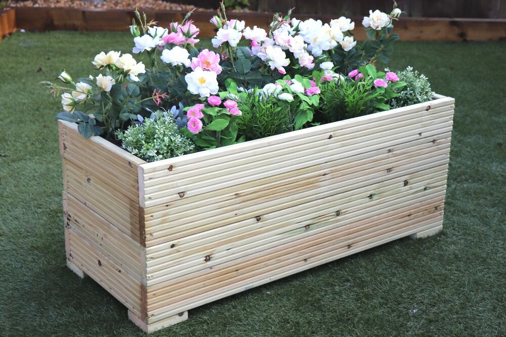 1 metre large extra wide wooden garden planter trough hand for Garden decking planters