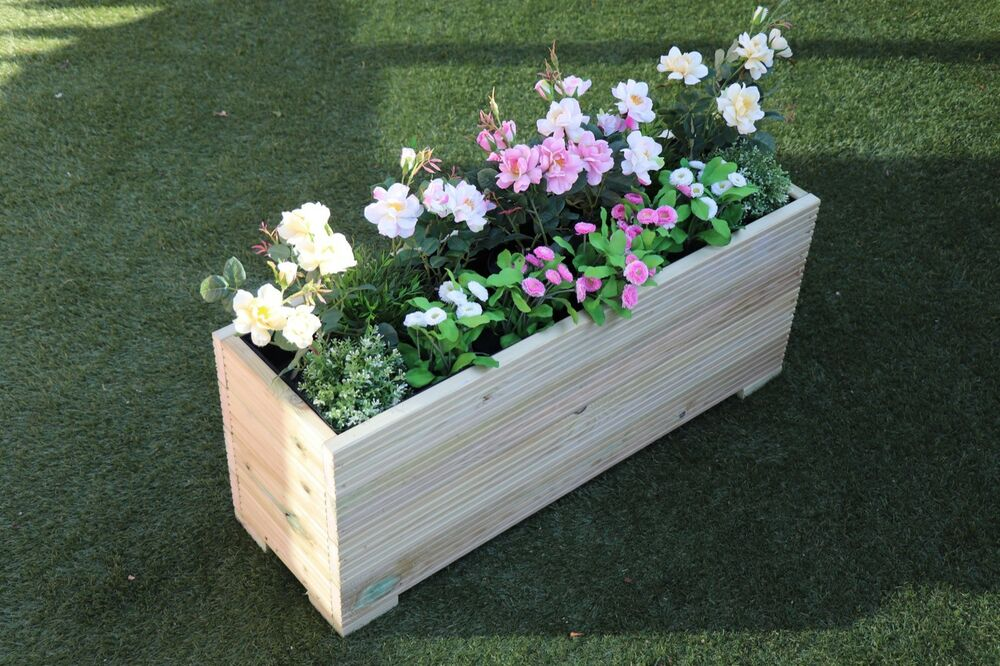 1 metre large extra tall wooden garden planter trough hand made in decking ebay. Black Bedroom Furniture Sets. Home Design Ideas