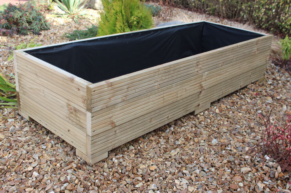 ... Large Wooden Garden Planters Uk By Large Wide Wooden Garden Planter  Trough 150cm Length ...