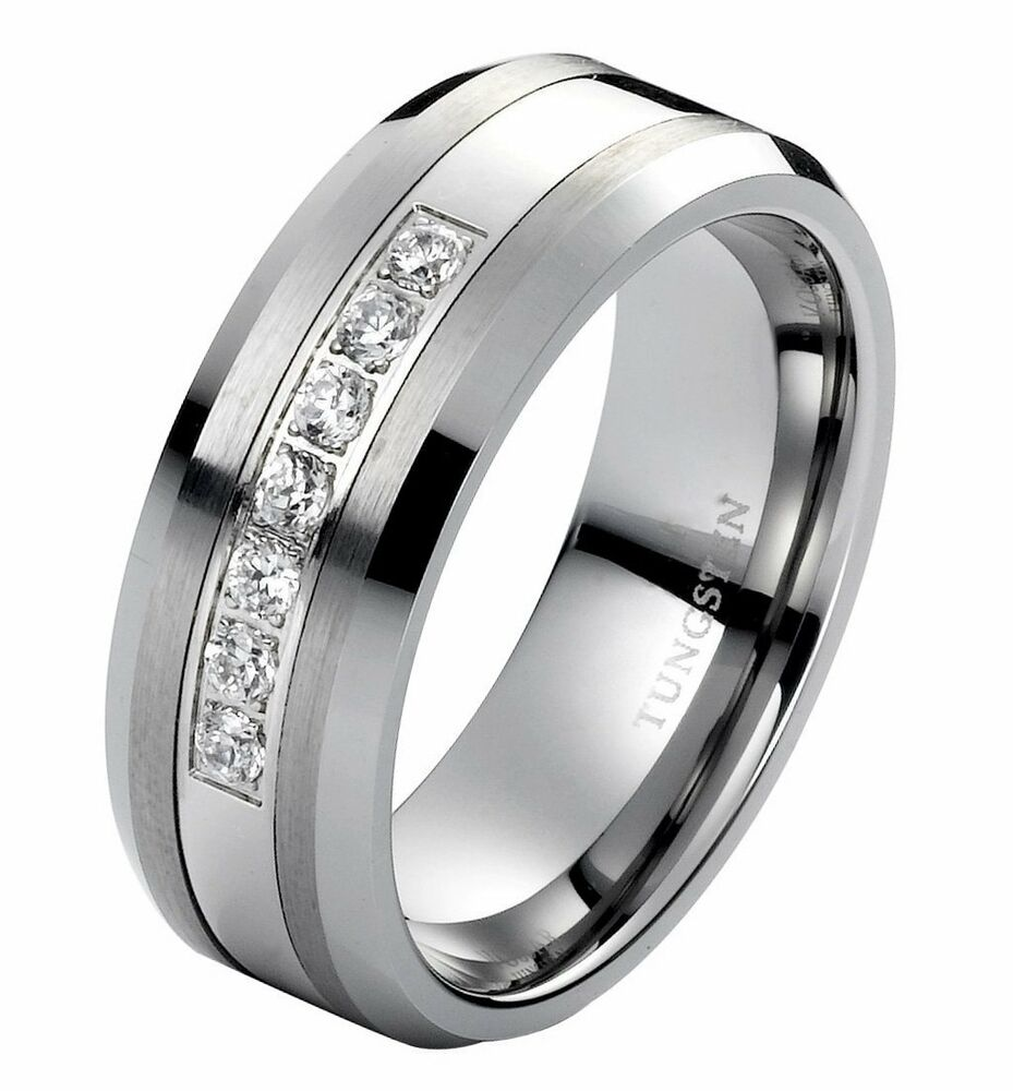 Diamond Wedding Band Ring Men's Tungsten Band 8mm Modern