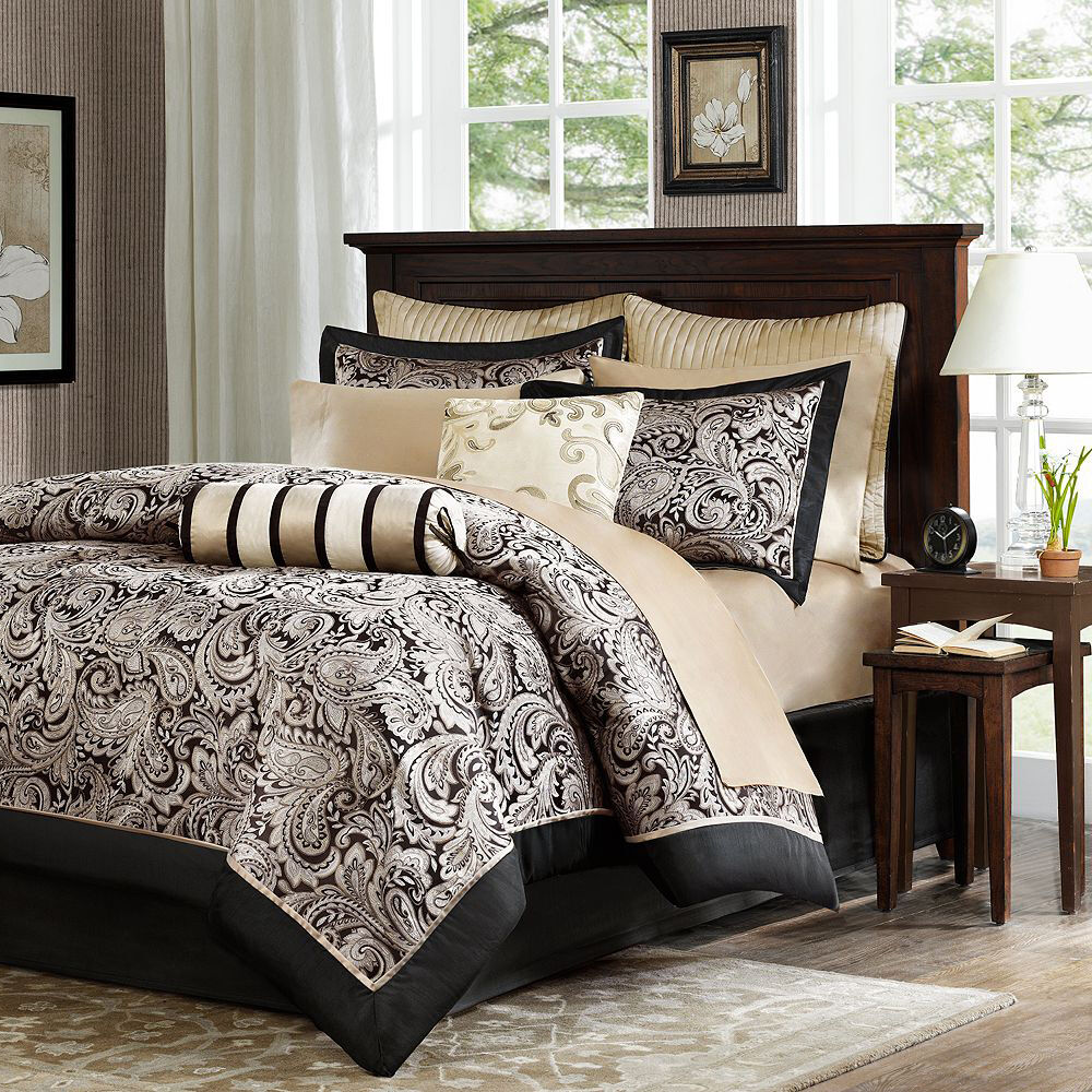 Black Gold Bed Bag Luxury 12Pc Comforter Set Call King