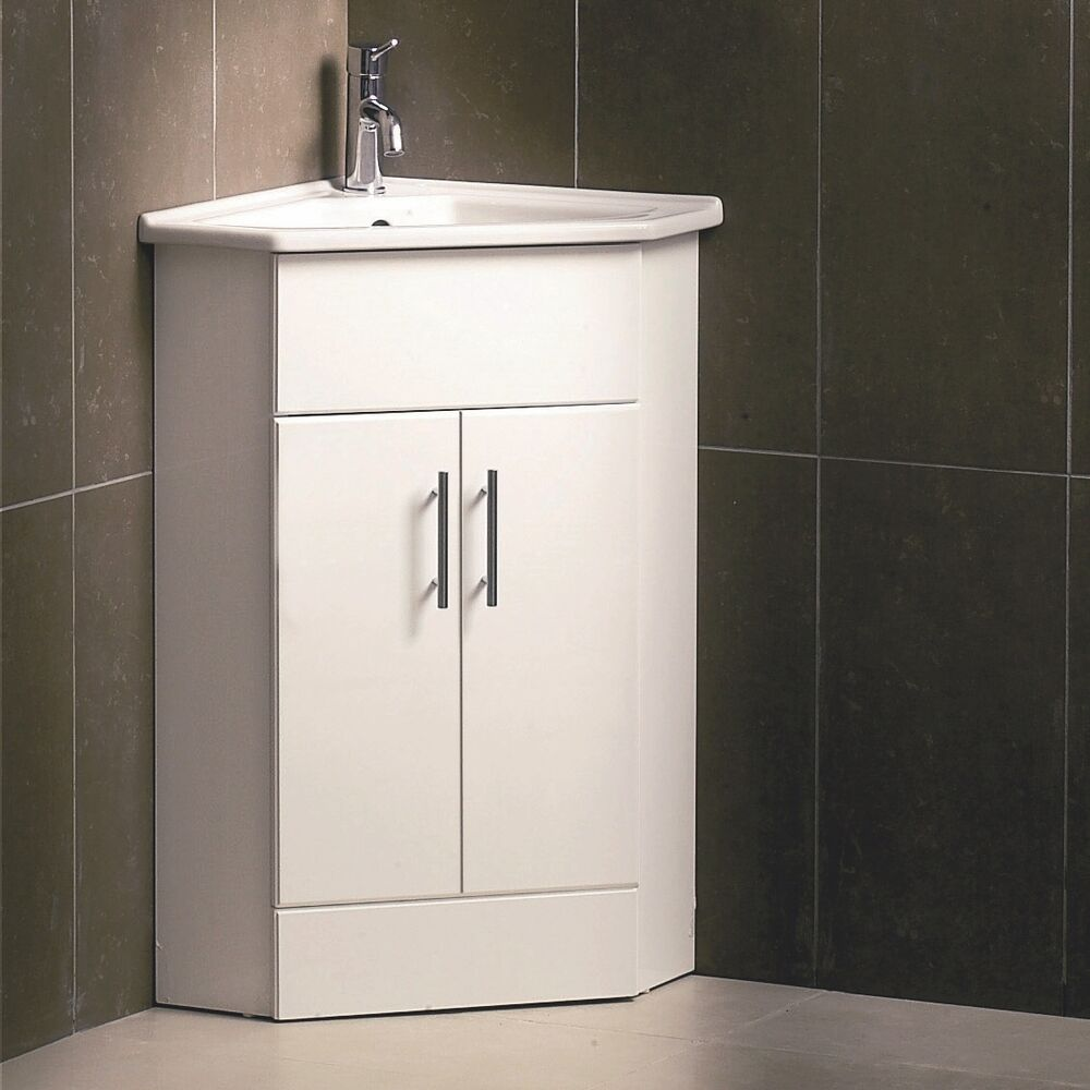 White Compact Corner Vanity Unit Bathroom Furniture Sink Cabinet Basin