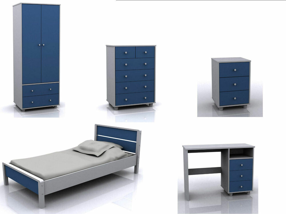 Boys Blue Bedroom Furniture Miami Range Wardrobe Bed Chest Bedside Desk Set Ebay