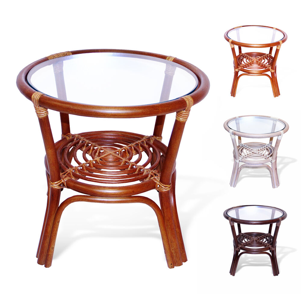 Leo handmade rattan wicker small round accent end coffee table with glass top ebay Rattan round coffee table