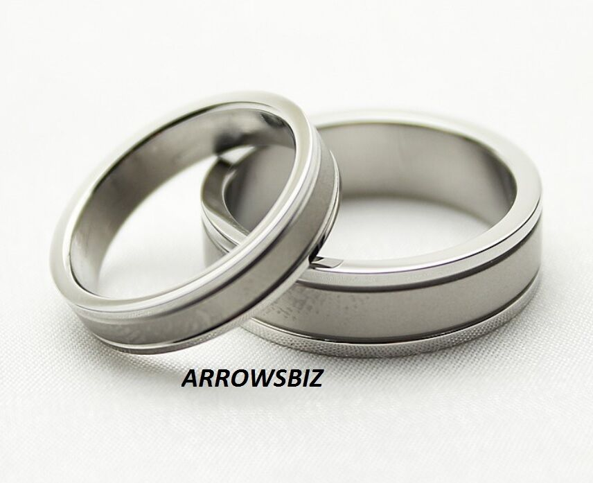 Men Women Couple Wedding Engagement 316L Stainless Steel Silver Rings Size 4