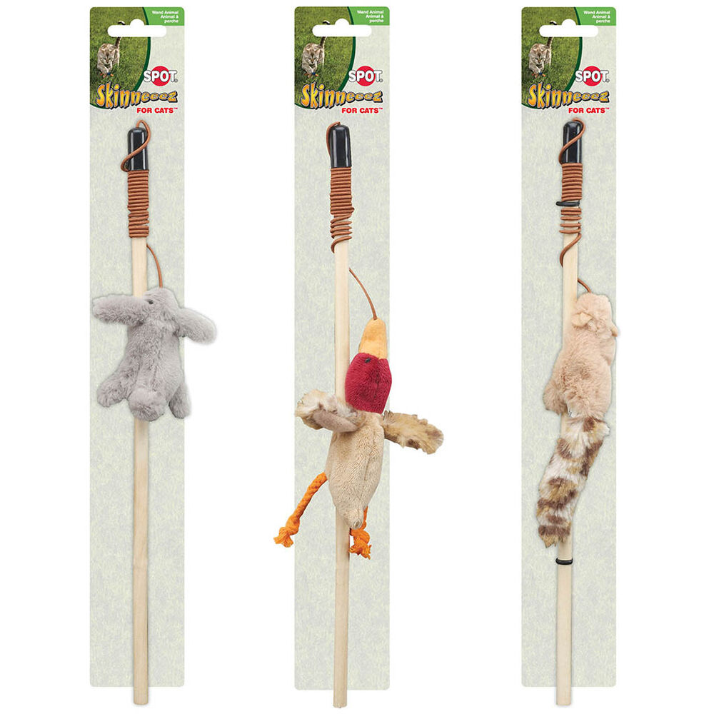 Spot ethical skinneeez forest friends assorted cat wand for Cat wand toys