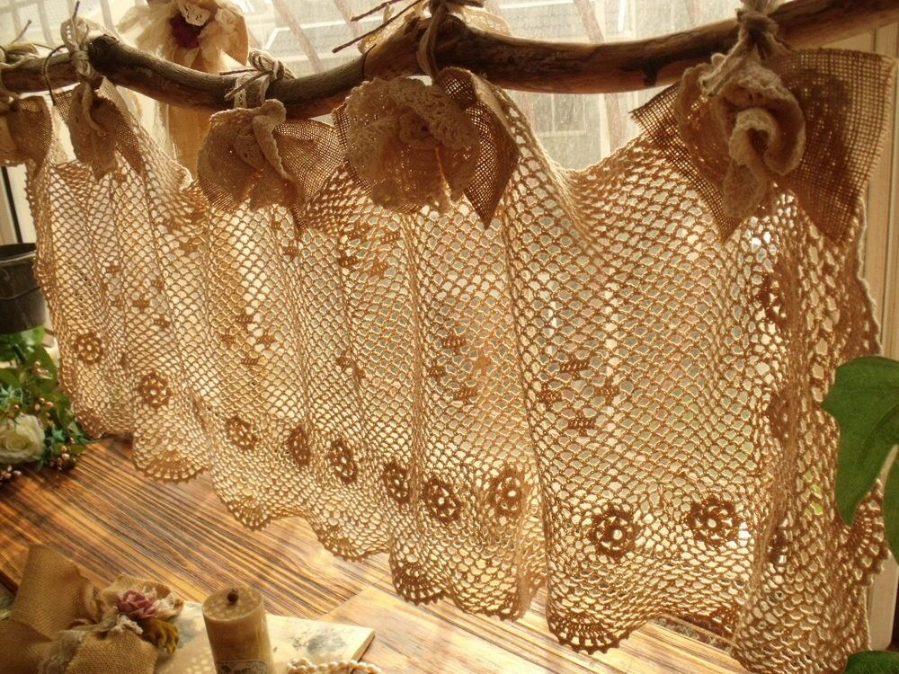 BURLAP BOWS -Shabby French Chic HAND Crochet Valance Curtain Cream ...