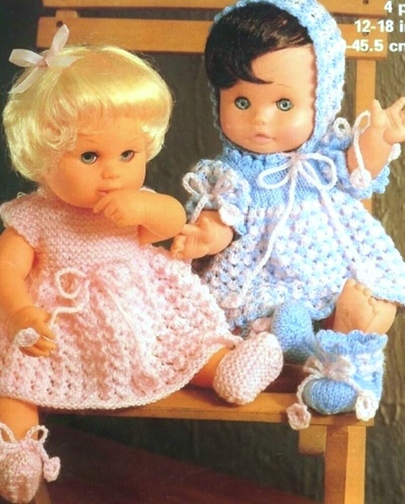 "KNITTING PATTERN 4 ply BABY DOLLS CLOTHES 4 sizes 12"" 14"