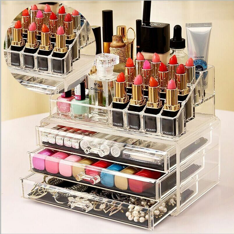cosmetic table organizer clear makeup drawers holder case. Black Bedroom Furniture Sets. Home Design Ideas
