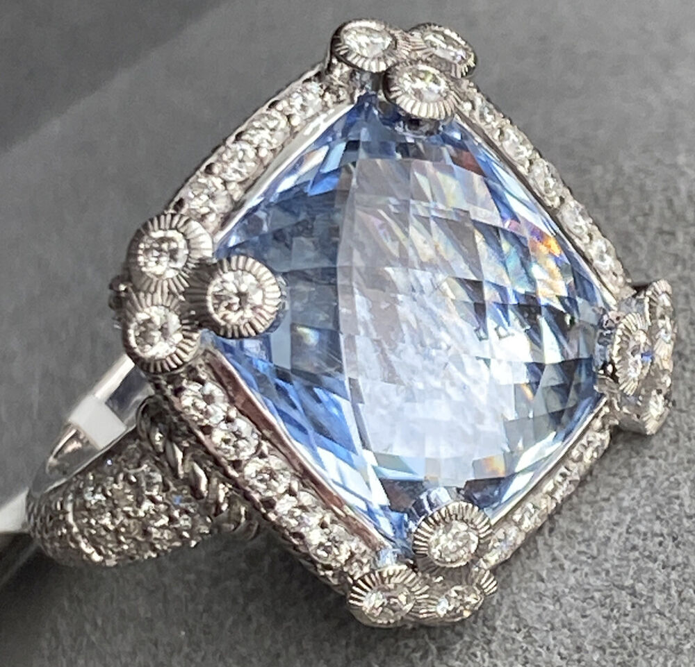 Judith Ripka Couture 18k W Gold Diamond Blue Gemstone Huge