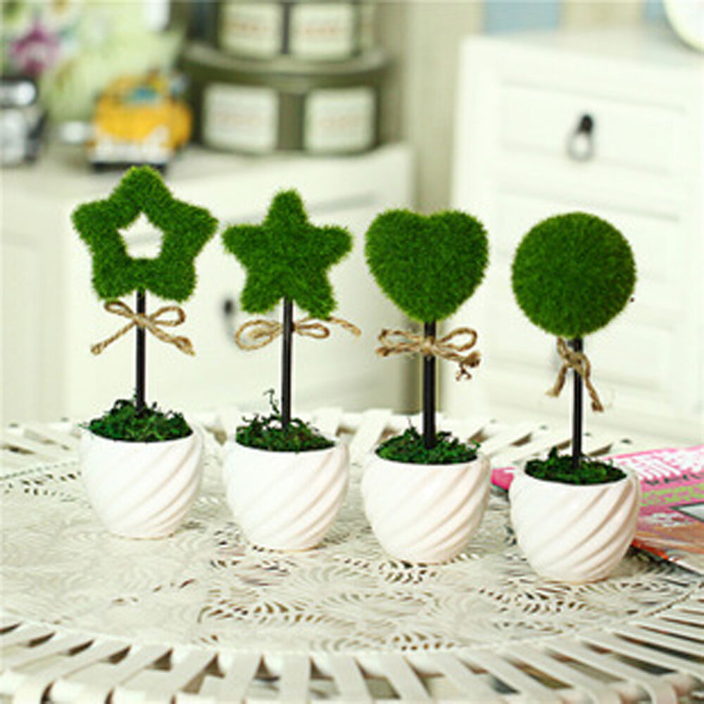 Grass Artificial Fake Plants Potted Plastic Desk Home