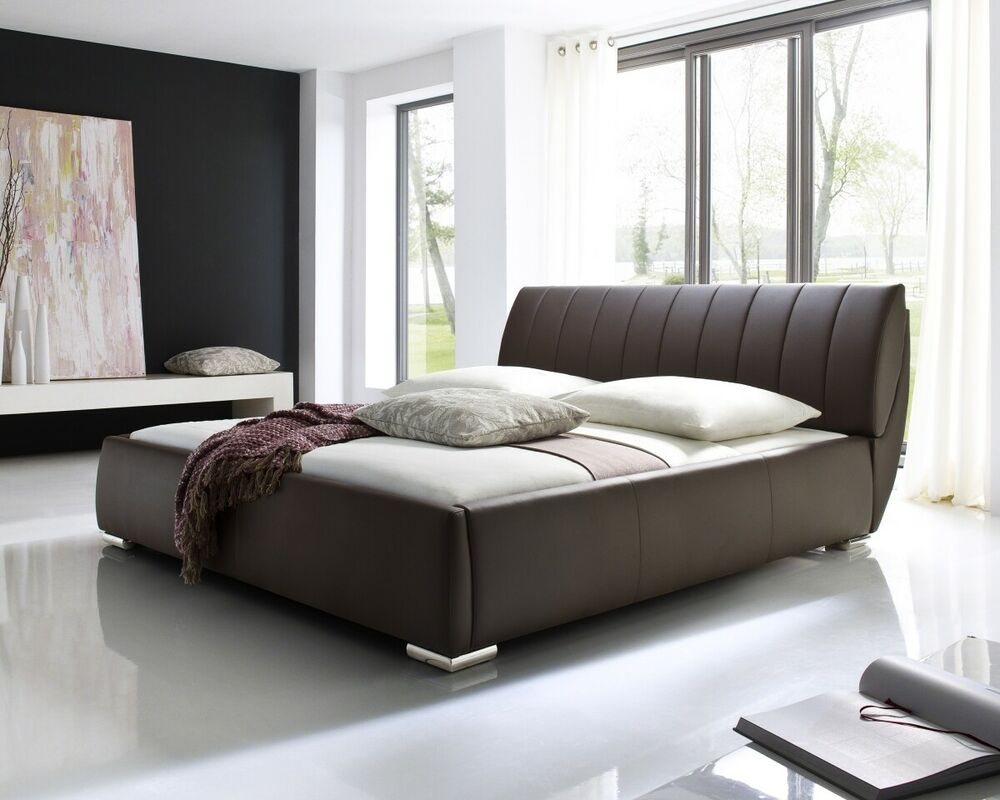 designer luxus lederbett polsterbett modernes leder bett schwarz braun weiss ebay. Black Bedroom Furniture Sets. Home Design Ideas