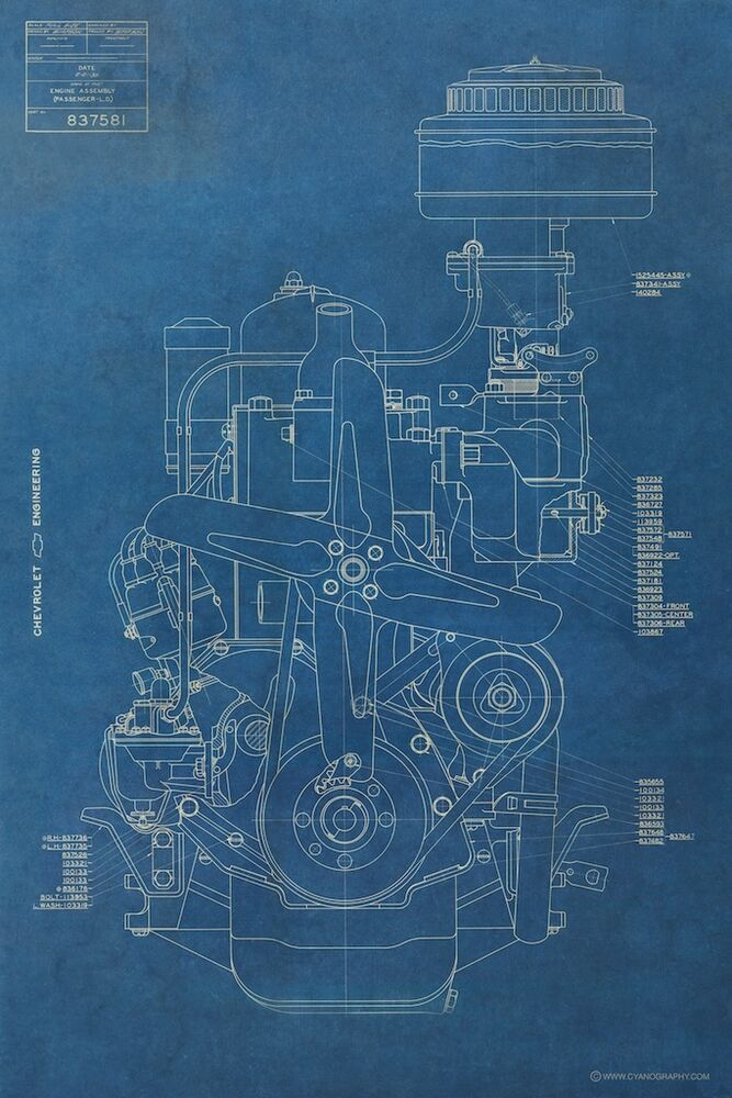 Vintage Chevy Engine BLUEPRINT Antique Chevrolet Motor Mancave Art ...